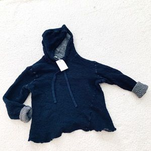 Vince navy gray wool hooded sweater NWT